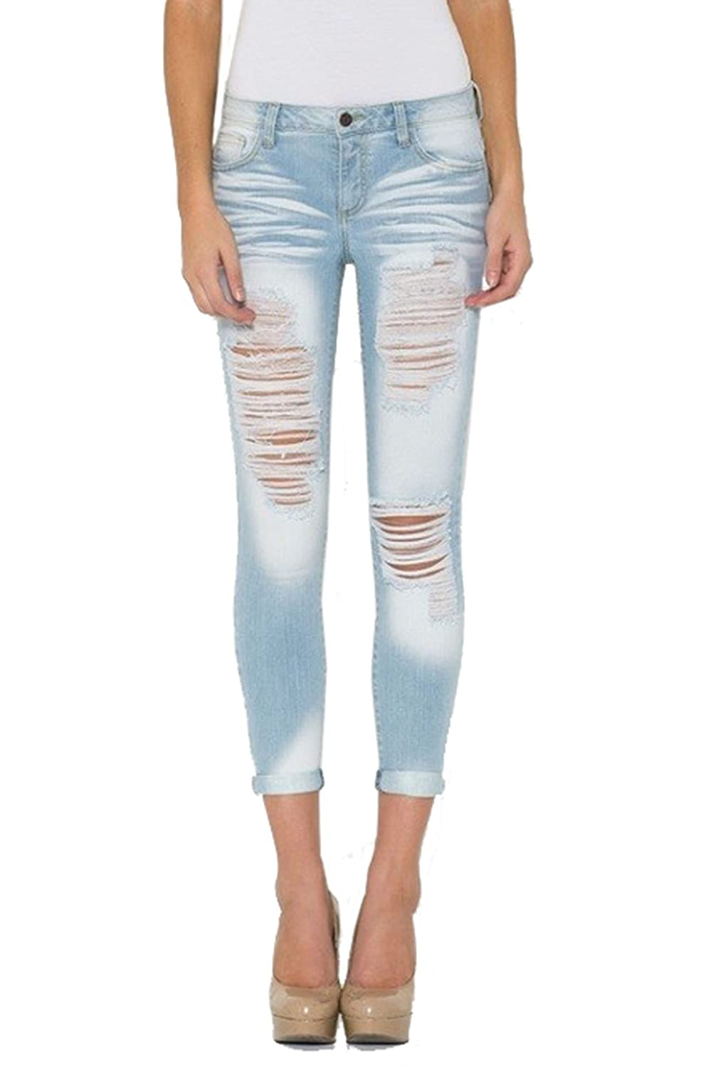 Cello Jeans Women's Light Distressed Cropped Skinny free shipping