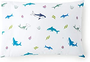 Wildkin Kids 100% Cotton Pillow Case for Boys and Girls, Soft Breathable Fabric, Measures 20 x 30 Inches, Fits Standard Size Pillow, Certified Oeko-TEX Standard 100, Olive Kids (Shark Attack)