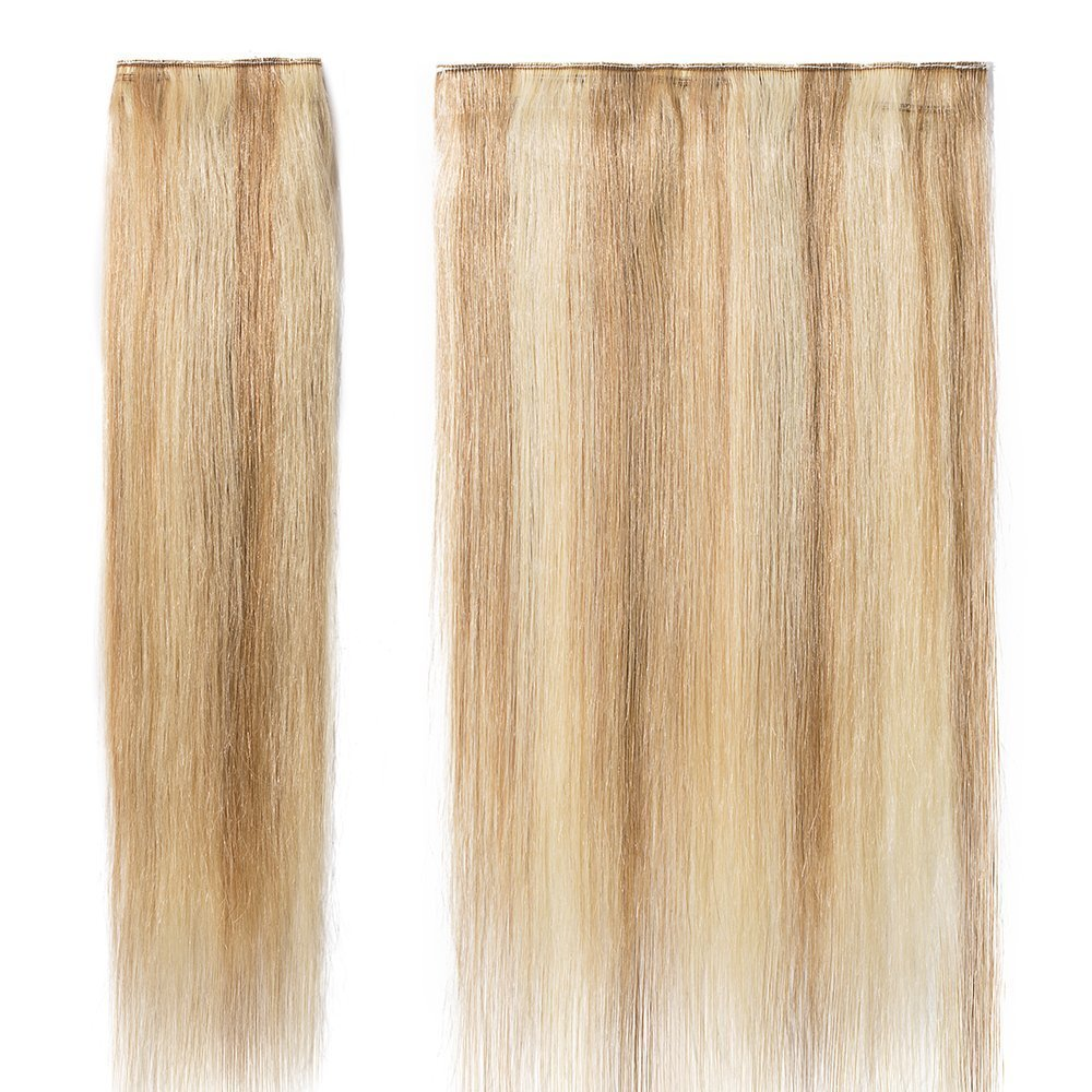 Amazon Com Clip In Hair Extensions Human Hair One Piece 5 Clips Real Human Hair Straight Ash Blonde Bleach Blonde 2255cm 55g Beauty