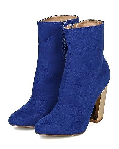Women's Cander Metallic Boot Block Heel Almond Toe Ankle Trendy Versatile Bootie