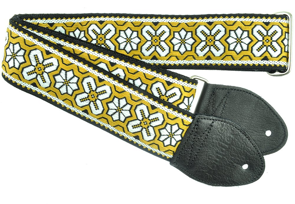 Souldier GS0944BK02BK Custom USA Handmade Greenwich Layla Electric Guitar Strap - Yellow/Black