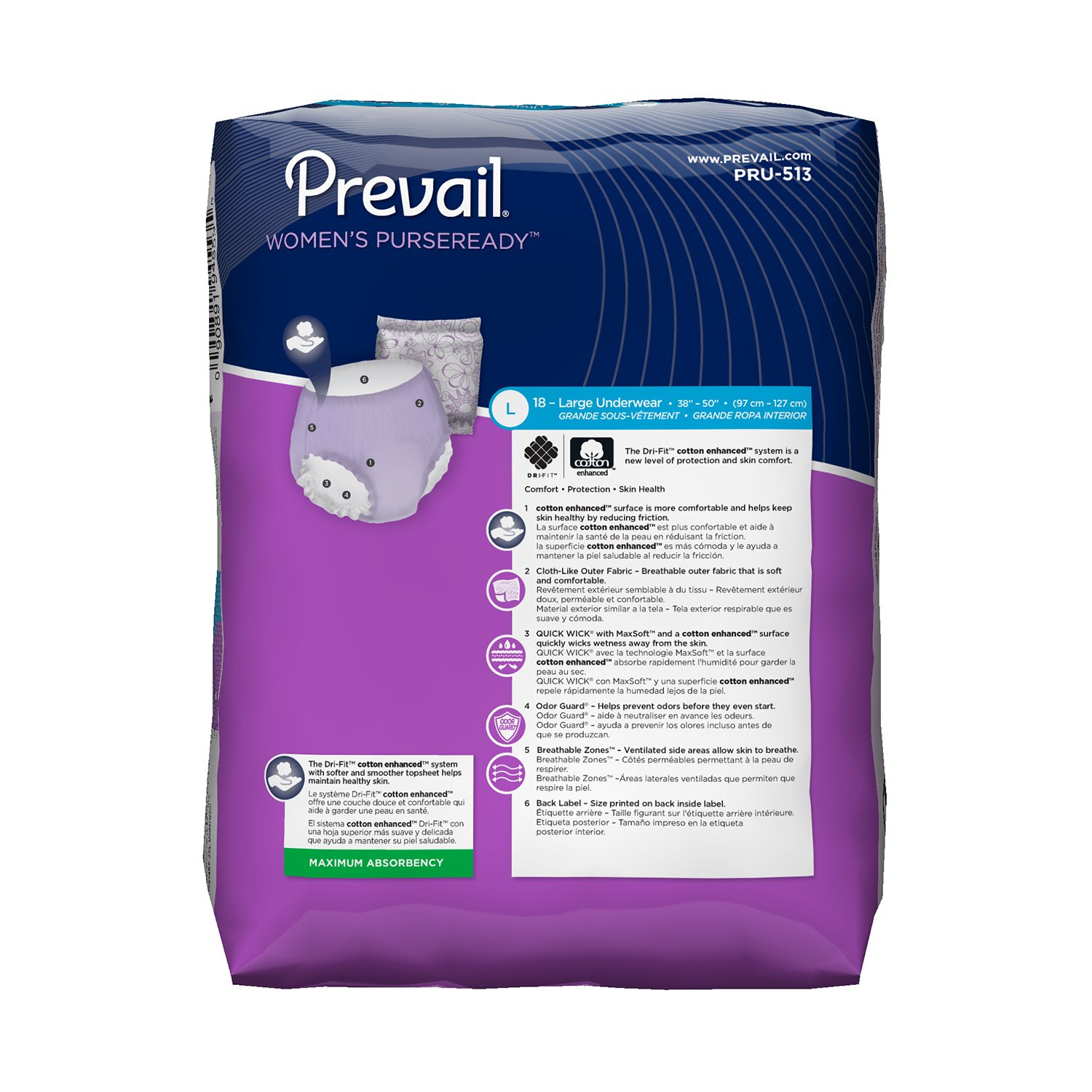 Amazon.com: Prevail PurseReady Maximum Absorbency Incontinence Underwear for Women, Large, 18-Count (Pack of 4): Health & Personal Care