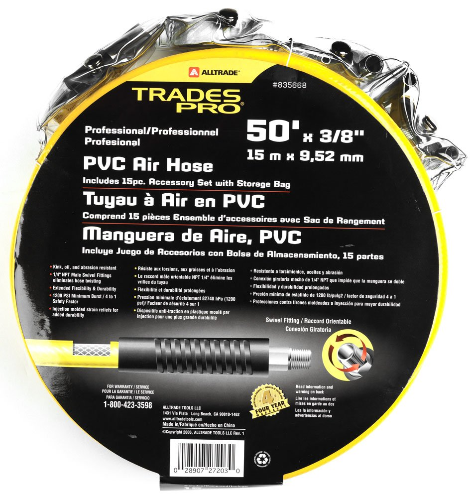 Tradespro 835668 50-Feet PVC Air Hose and Air Tool Accessory Set