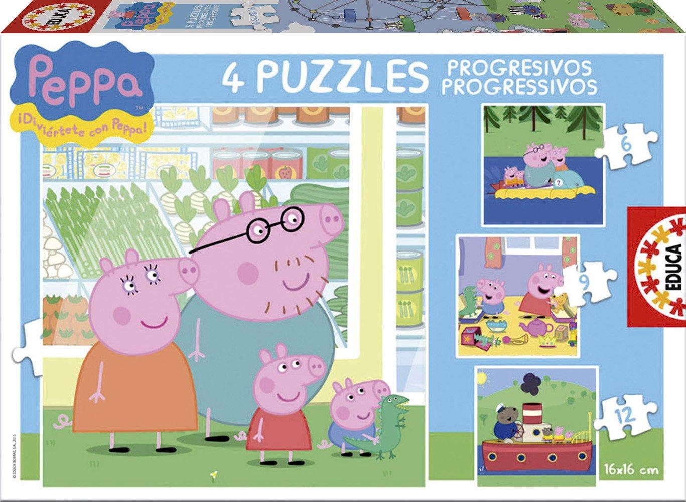 Educa Borrás Peppa Pig - Puzzles progresivos, 6 - 9 - 12 - 16 piezas 15918 carton cartón puzle