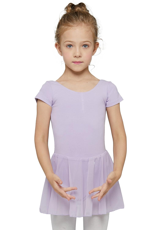 Mdnmd レオタード 女の子用 半袖 スカート B01M03DD6I  パープル S