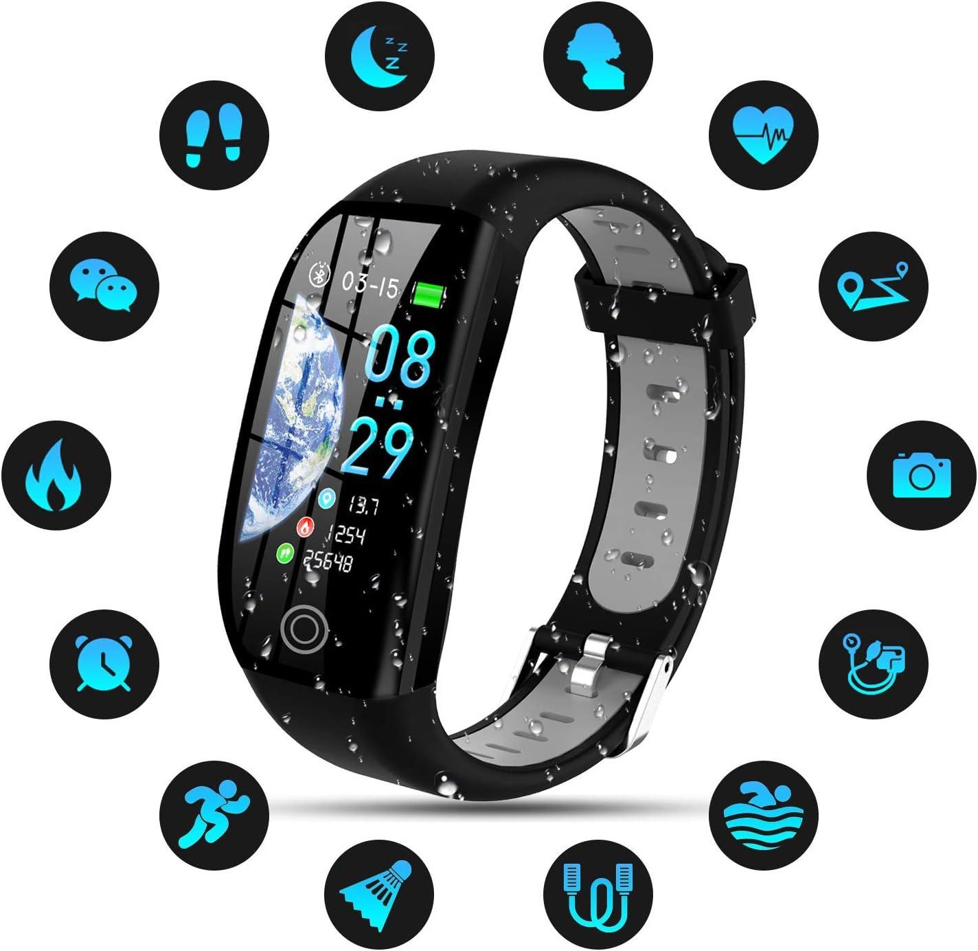 Tipmant Pulsera de Actividad, Reloj Inteligente Smartwatch Impermeable IP68 Pulsera Inteligentes con Pulsómetro Podómetro Calorías Pulsera Deporte para Android y iOS para Hombre Mujer Niños