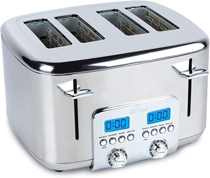 All-Clad TJ824D51 Digital Tosater Toaster, 4-Slice, Silver (Renewed)