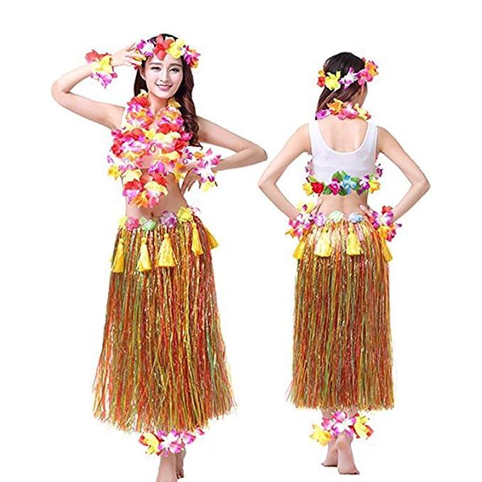 Amazon.com: zacate faldas adulto hawaiana danza 8 piezas ...