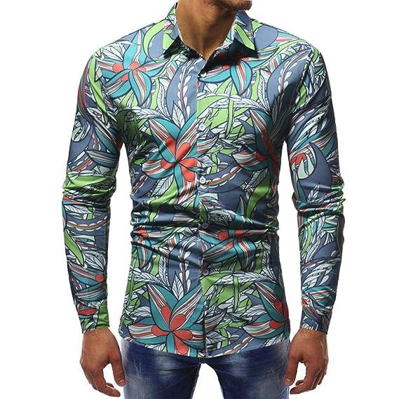 Blusa Impresa para Hombre de la Moda Camisas Ocasionales de Manga Larga Slim Tops por Internet