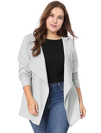 fc8f4ef9fc3 Agnes Orinda Women s Plus Size Long Sleeve Open Front Drape Hooded Cardigan  1X Grey