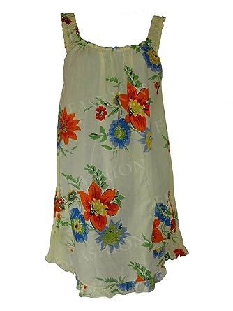 c12985dbcdc femiss Italian Lagenlook Women Summer Sleeveless Casual Cotton Dress Ladies Top  Vest 2 Pocket Tunic Flower Print (OneSize 14 16 18