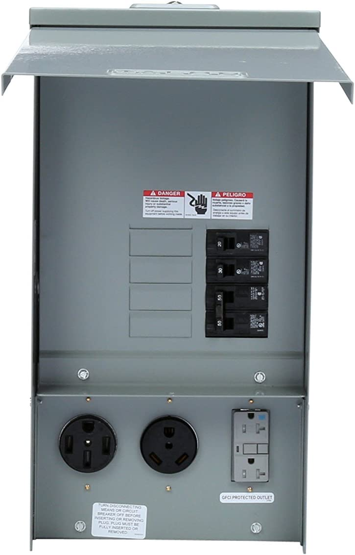 Siemens TL137US Talon Temporary Power Outlet Panel with a 20, 30, and 50-Amp Receptacle Installed, Unmetered - Circuit Breakers -