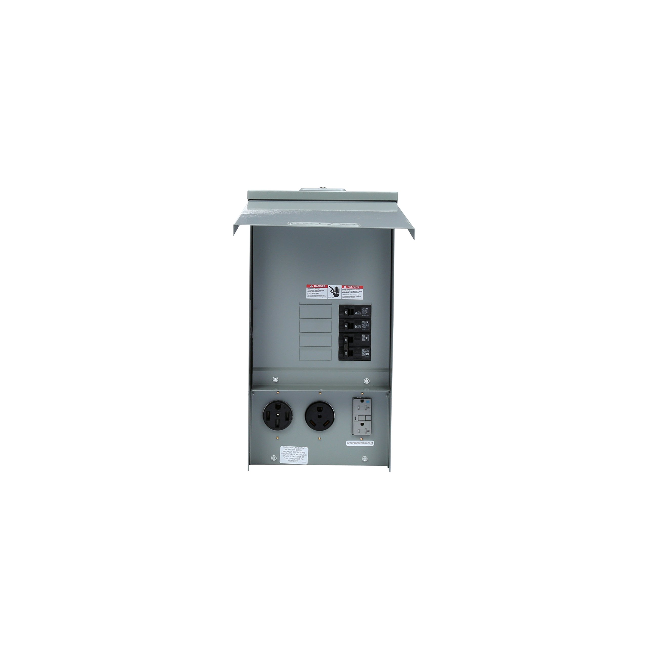 Siemens TL137US Talon Temporary Power Outlet Panel with a 20, 30, and 50-Amp Receptacle Installed, Unmetered by Siemens