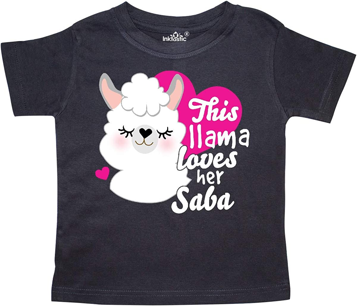 inktastic Valentines Day This Llama Loves Her Saba Toddler T-Shirt