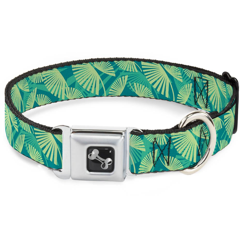 Buckle-Down 9-15  Palm Leaves Stacked Pastel Greens Dog Collar Bone, Small