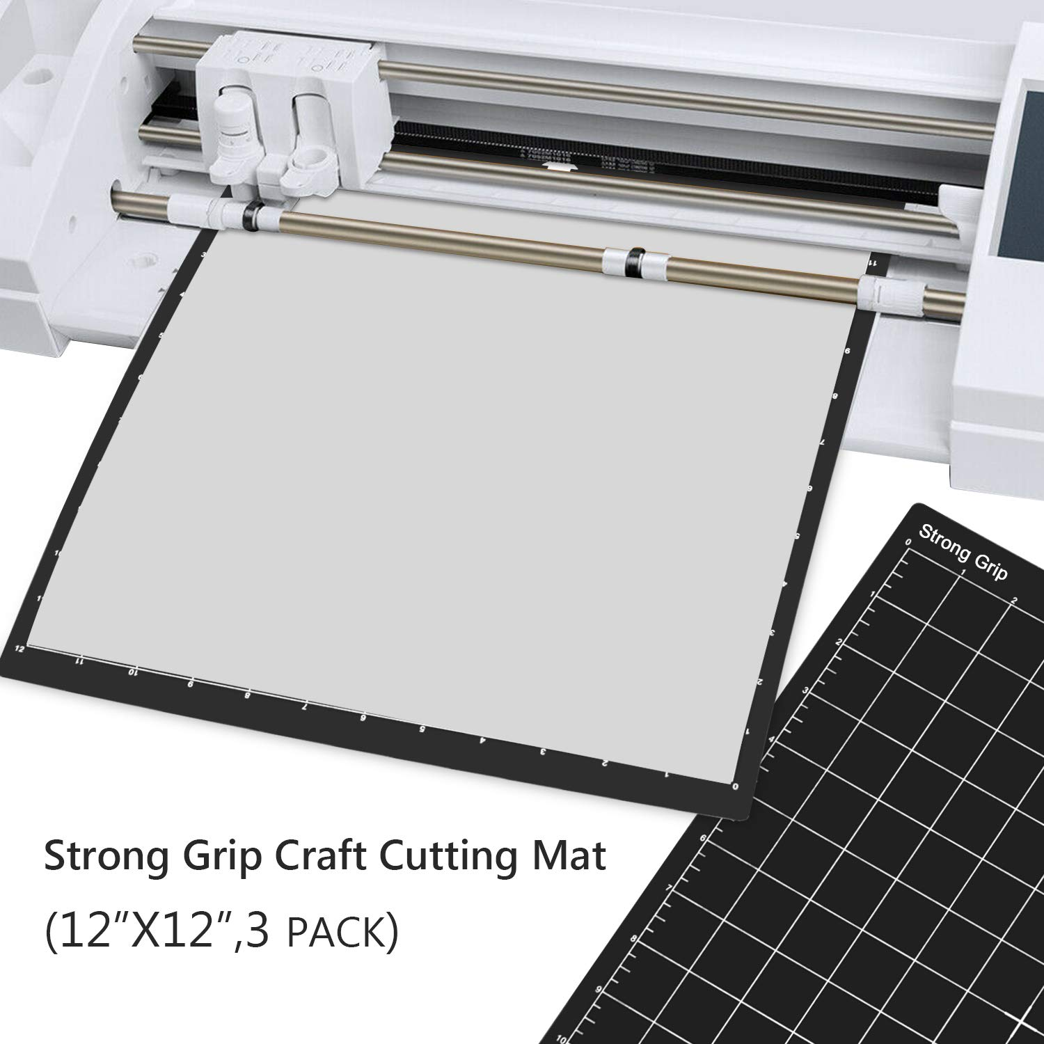 Scrapbooking and All Arts Sewing Gridded Adhesive Non-Slip Cut Mat for Crafts REALIKE 12x12 Cutting Mat for Silhouette Cameo 3//2//1 Quilting 3 Mats - StandardGrip, LightGrip, StrongGrip
