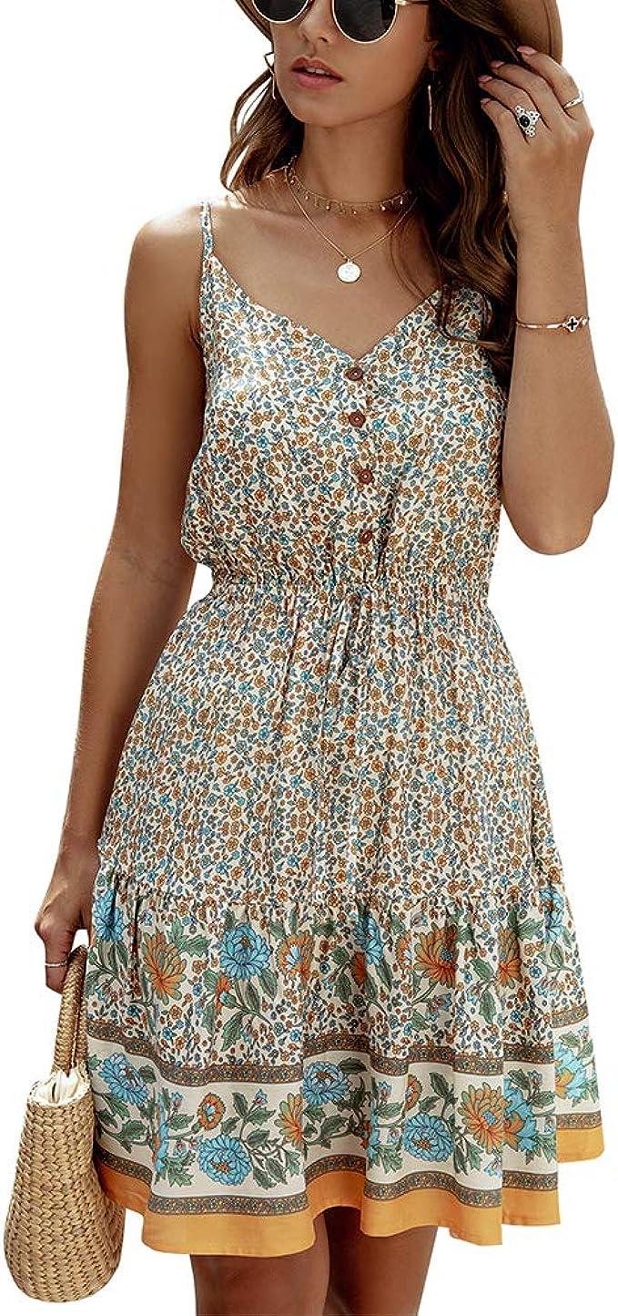 Damen Boho Strandkleid A Linie Minikleid V Ausschnitt Blumen