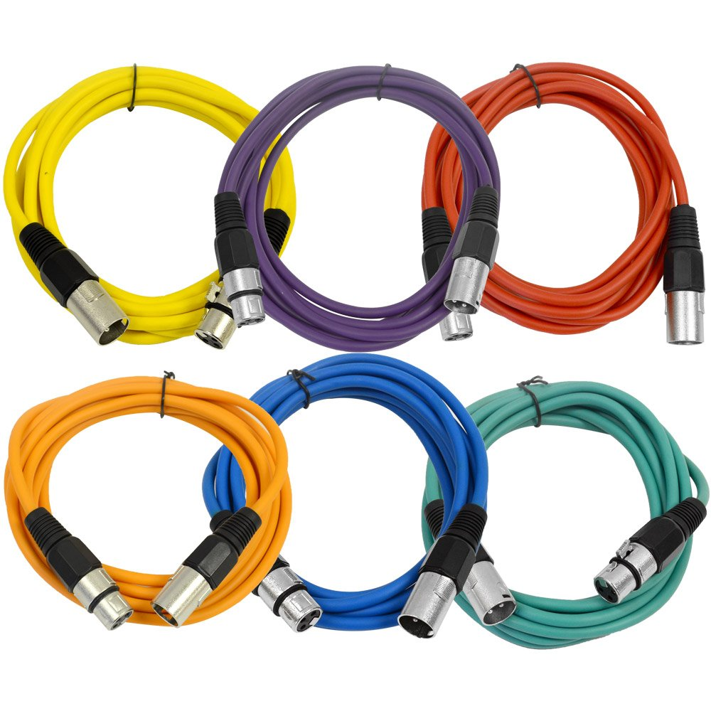 SEISMIC AUDIO - SAXLX-10-6 Pack of 10' Multiple Color XLR Male to XLR Female Patch Cables - Balanced - 10 Foot Patch Cords by Seismic Audio