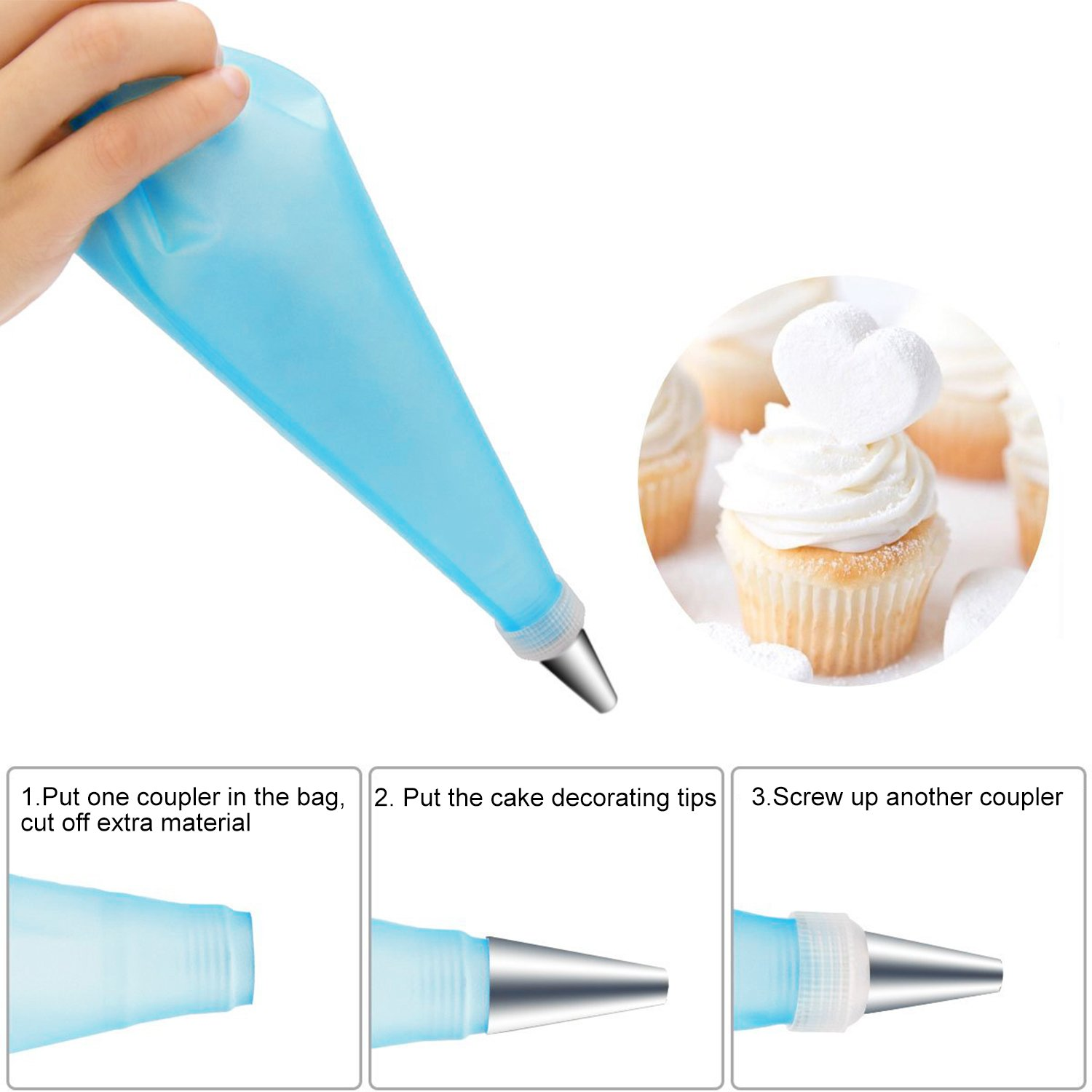 All in One Plastic Storage Case Silver 2 Plastic Couplers,1 Reusable Silicone Pastry Bag HOOMIL 28 Pieces Cake Decorating Supplies Kit with 24 Stainless Steel DIY Icing Tip Set Tools