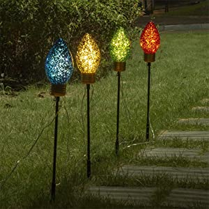 Vanthylit 4PK Pre-lit Jumbo C Bulb Pathway Markers Lights 4-Color Assorted Outdoor Stake Micro LED Light Decoration