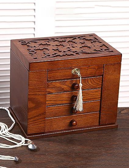 CRSHOUSHIHE Joyería Organizador Caja De Estilo Europeo De Madera Simple 5o Piso Con Cerradura Caja De