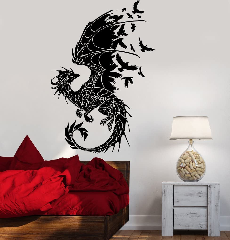 Vinyl Decal Wall Sticker Dragon Birds Fantasy Fairytale Gothic Decor for Bedroom (z2514) M 22.5 in X 35 in