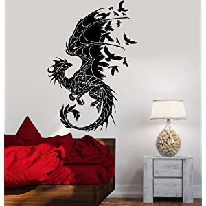 49 PCS DIY Halloween Party Supplies PVC 3D Decorative Scary Dragon Wall Decal Wall Sticker Halloween Eve Decor Home Window Decoration Set Black