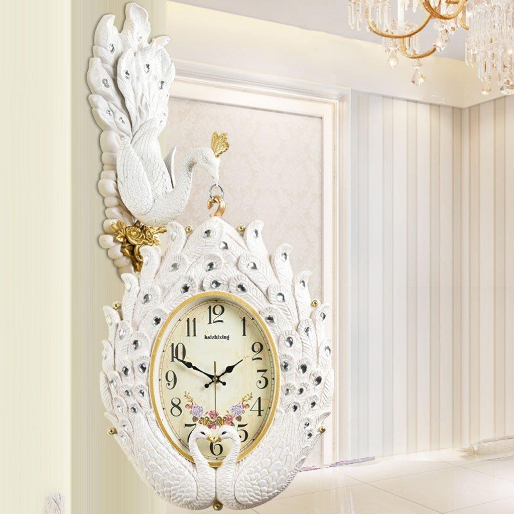 ヨーロッパの両面プラスチック製のリビングルームのベッドルーム静かな壁時計 (色 : Yellow crack) B07DVTFM8KYellow crack