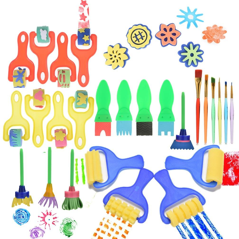 Kids Art Craft 30 Pcs Sponge Painting Brushes Kids Painting Early DIY Learning Sponge Roller Brushes, Art Craftssponge brush by OBANGONG Clarity Deals