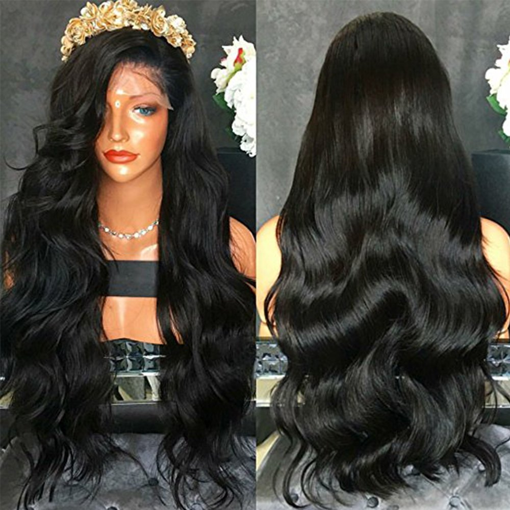 FENJUN HAIR 100% Brazilian Virgin Human Hair Lace Front Wigs For Black Women Wet And Wavy Full Lace Front Wigs 150% Density Glueless Wigs With Baby Hair (18inch, lace front wig)