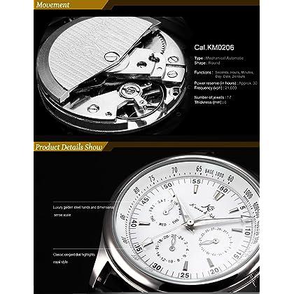 KS Classic White Dial Date Day 24 Hours Wrist Men Automatic Mechanical Watch KS096