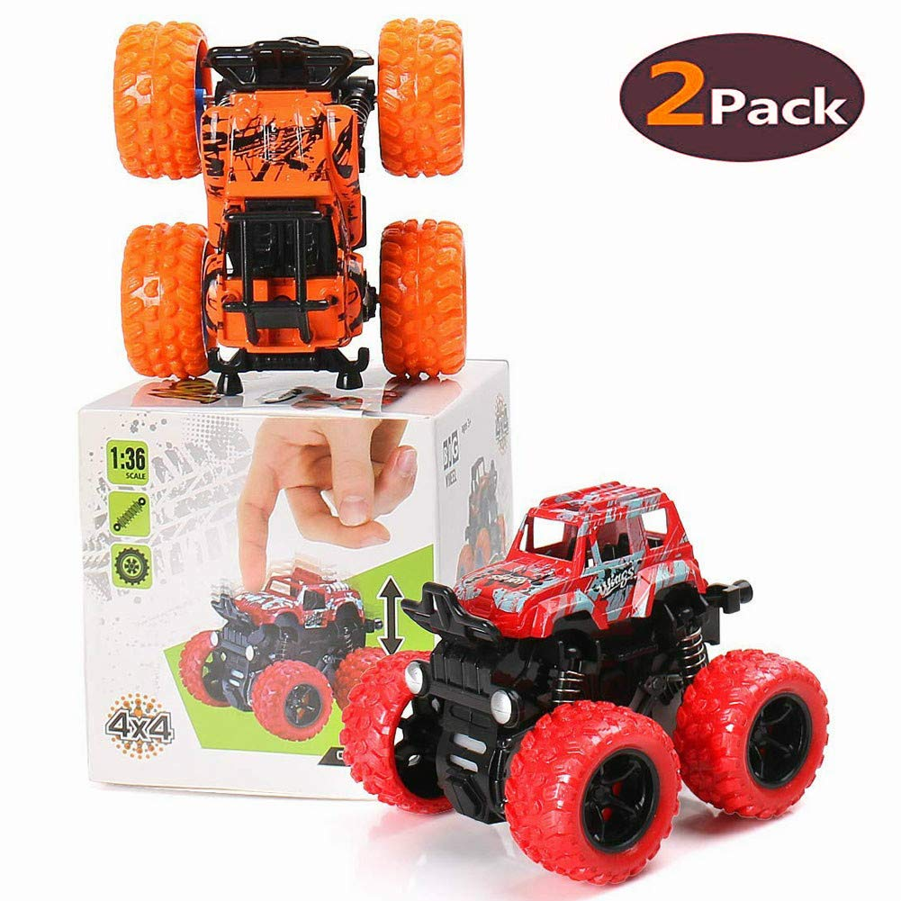 BBLIKE Pull Back Cars Toys ,2-Packs Monster Truck Toys,Four-Wheel Drive Inertia Car Toys, Friction Powered Cars Push Go Truck and Car Party Favors for Toddlers Boys Age 2-5 Year Toddler