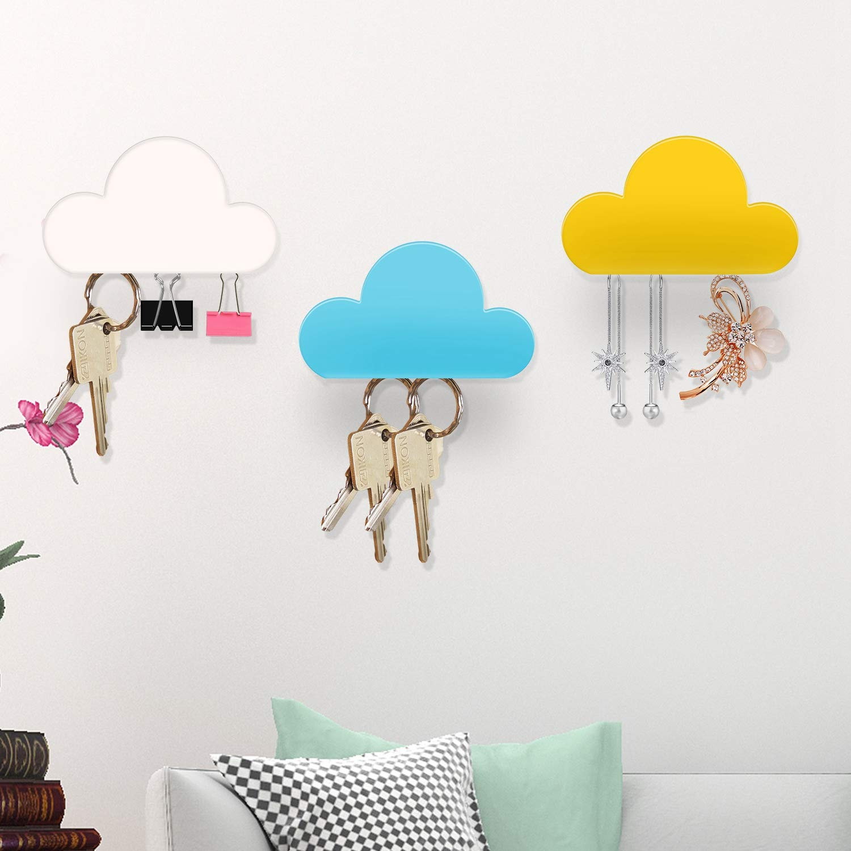 iMounTEK 3 Pcs Wall Magnetic Key Holder Cloud Shape Key Hangers Self Adhesive Key Decoration Kit