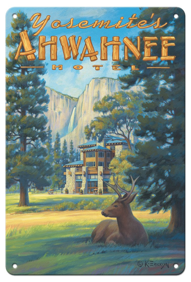 Pacifica Island Art 8in x 12in Vintage Tin Sign - Ahwahnee Hotel - Yosemite National Park by Kerne Erickson