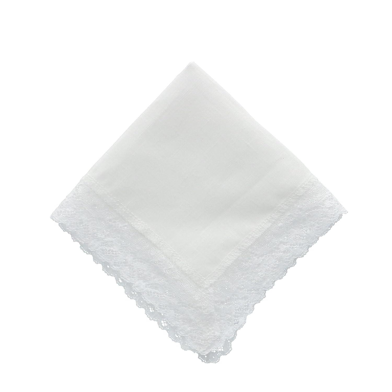 CTM Women's Irish Linen Cathedral Lace Handkerchief White WO-107BH455-WHT