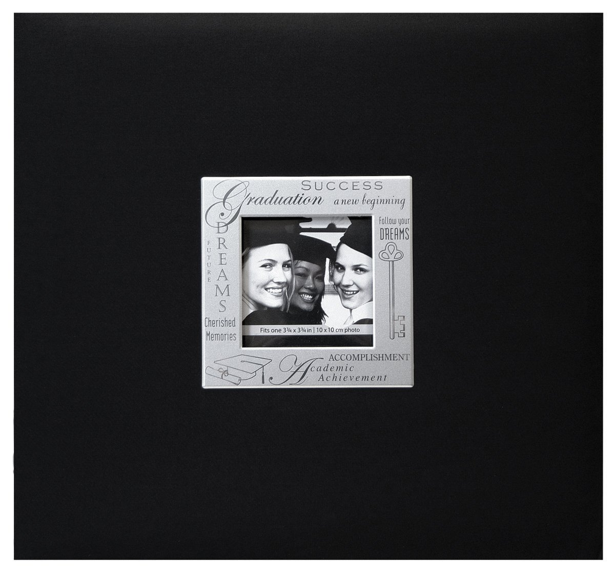 MBI 13.2x12.5 Inch Expressions Postbound Album with 12x12in Pages, Graduation, Black (803515)