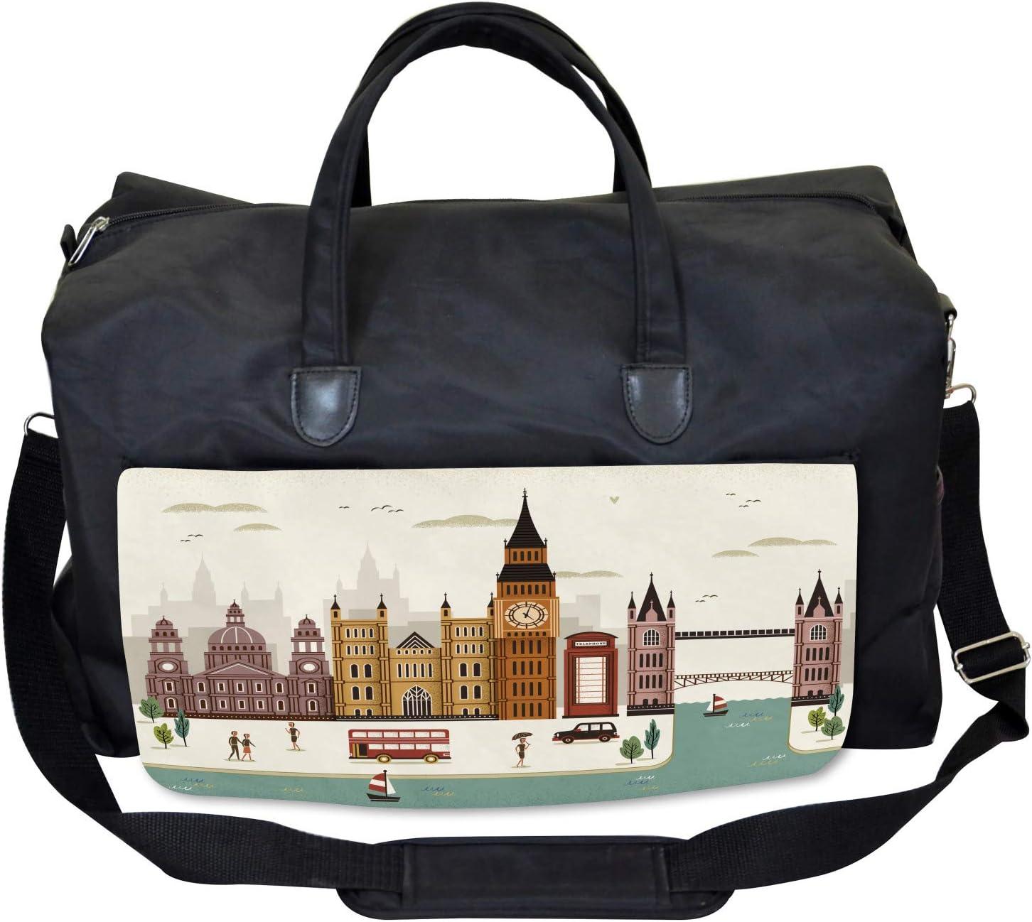 Ambesonne London Gym Bag Travel Scenery Big Ben Large Weekender Carry-on