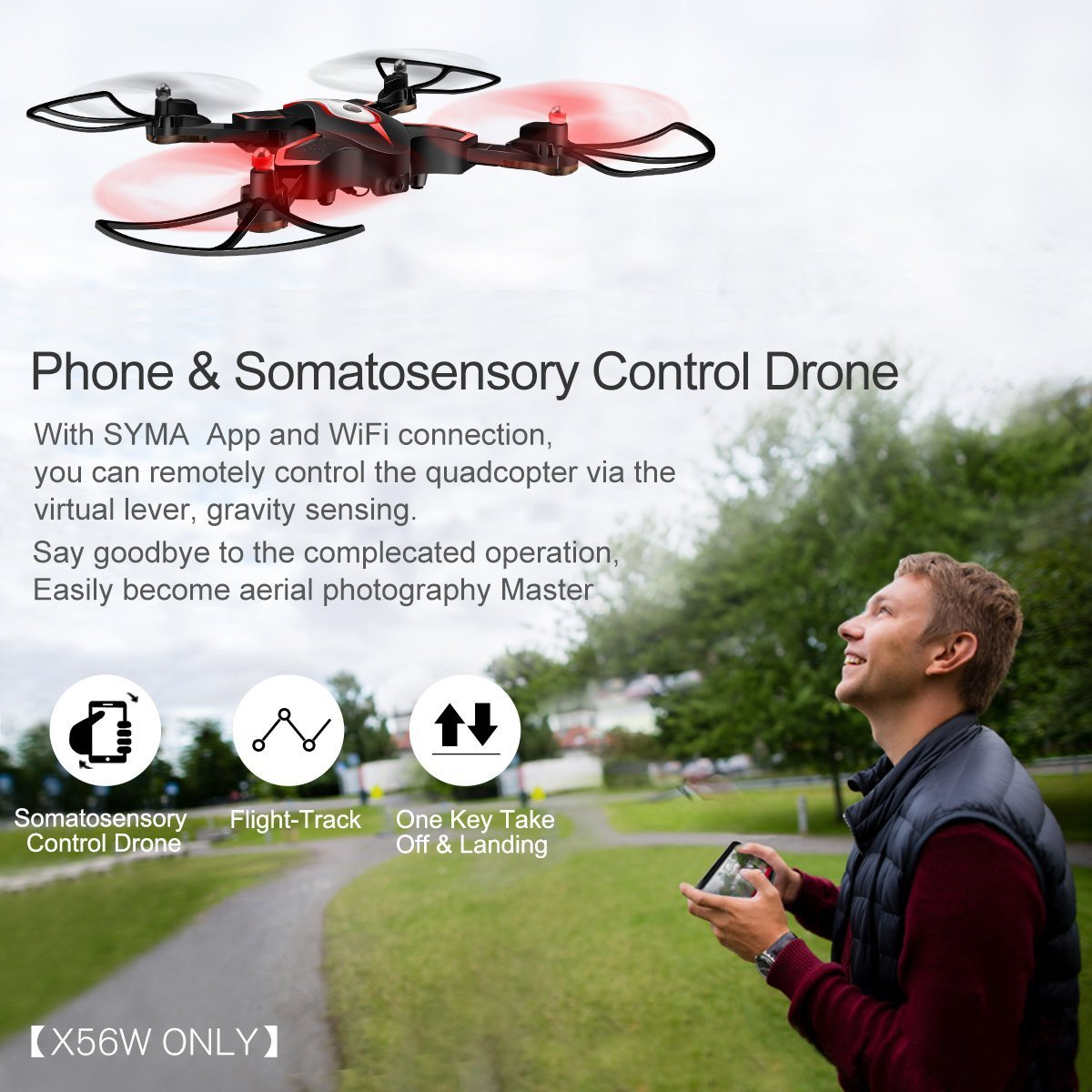 LiDi RC Drone plegable con cámara HD FPV WiFi DoDoeleph Syma X56W ...
