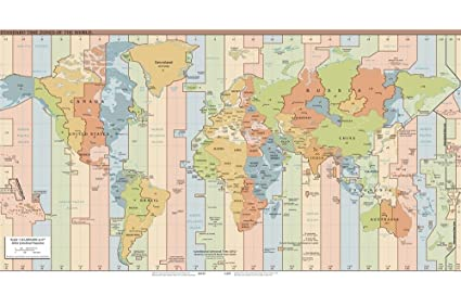 Buy World Map Wallpaper Time Zone Map Of World For Office School - Where to buy a world map
