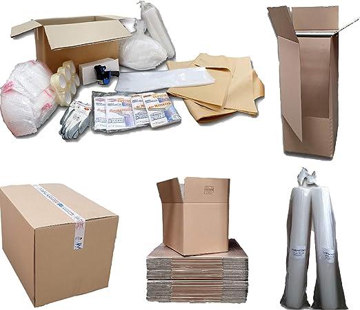 Kit cajas Mudanza Transmisores 120 m²; 22 cajas 60 x 40 x 40; 25 40 x 30 x 30; 3 armario; 6 bandas; 100 hojas papel embalaje, 1 Saco de matrimonio y 2 indio, 3 burbujas 100 Cmx10 MTL, 100 sobres burbujas 13: Amazon.es: Hogar