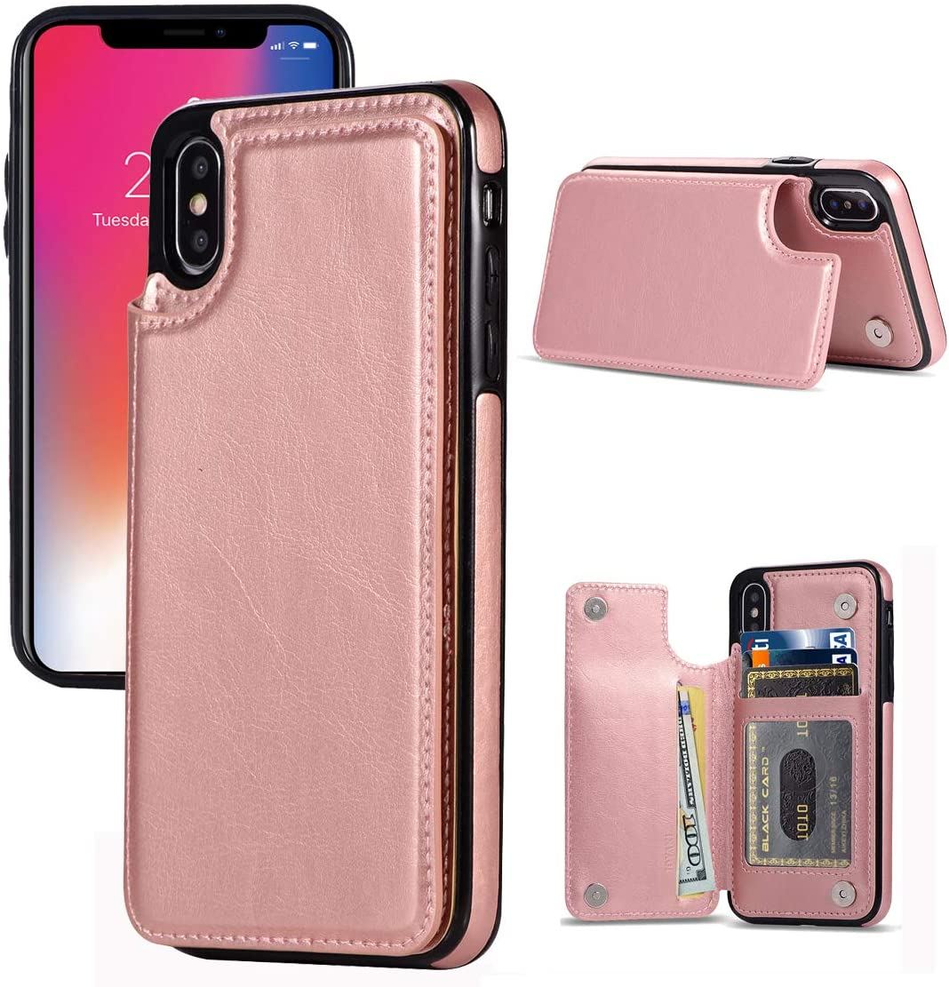 JOYAKI iPhone X/XS Wallet Case, iPhone X/XS Case with Credit Card Holder, Slim PU Leather Case with Card Slots, Protective Case with a Screen Protective Glass for iPhone X/XS 5.8 inch (Rose Gold)