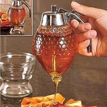 Taza de 200 ml de cristal 1 Bee Hive acrílico dispensador de jarabe de miel tarro con soporte para la cocina del hogar familia desayuno: Amazon.es: Hogar