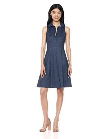 aab2c668de345 Maggy London Women s Sleeveless Collared Denim Fit and Flare Dress ...