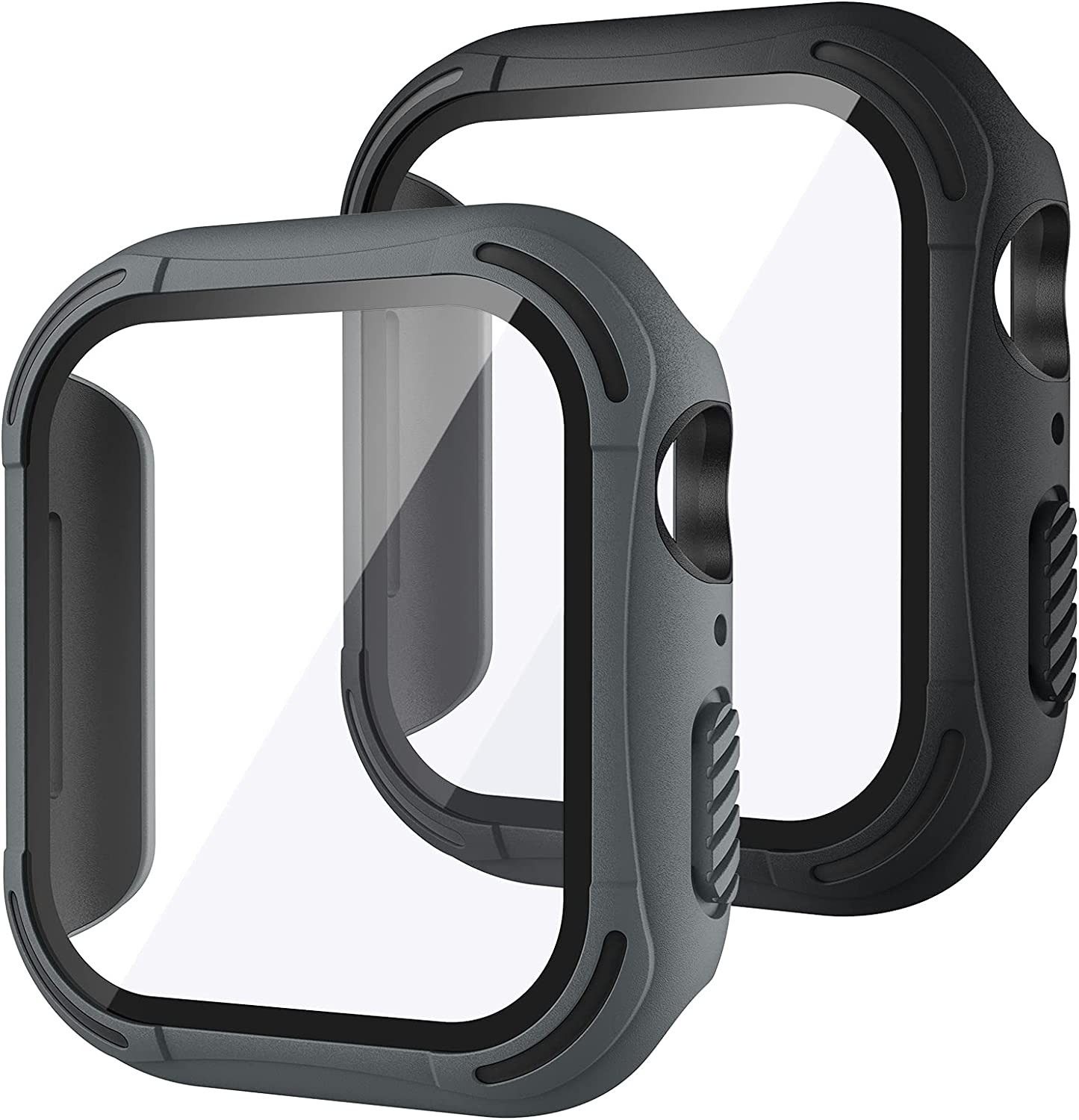 [2Pack] Tensea for Apple Watch Screen Protector Case SE Series 6 5 4 44mm 40mm Accessories, iWatch Protective PC Face Cover Built-in Tempered Glass Film, Rugged Bumper Case 44 40 mm Men (44mm)