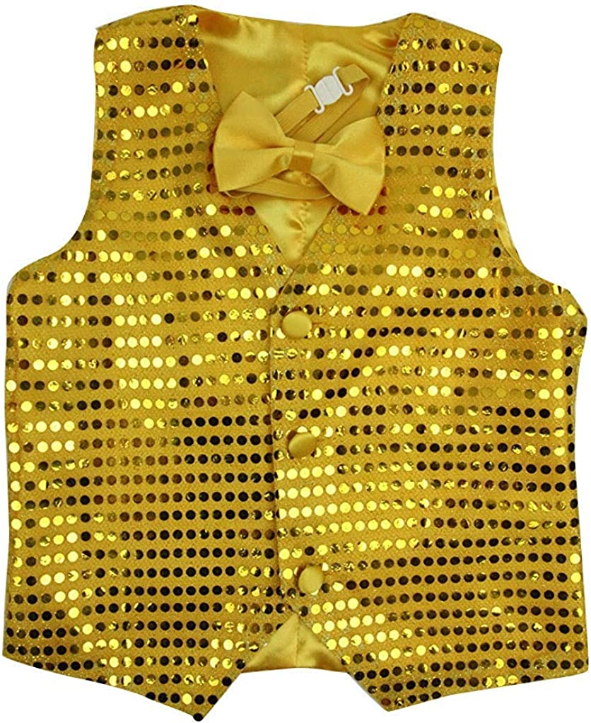 Wonder Stage Kids Shiny Party Sequin Vest Set with Vest and Bowtie