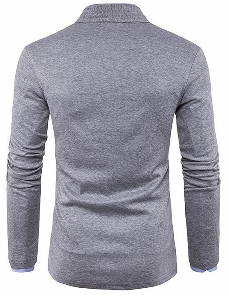 Suncolor8 Mens Pure Color Knit Long Sleeve Regular Fit Open Front Cardigan Sweaters