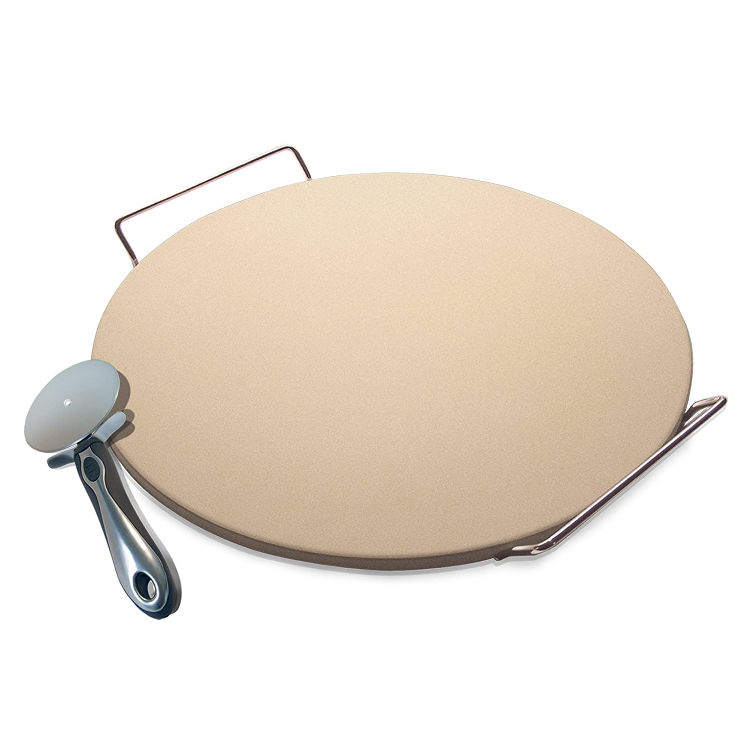 Laroma Pizza Baking Stone Set, 15-Inch - Includes Serving Rack, Pizza Cutter, Recipe Booklet