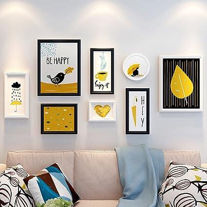 ALUS  8 Multi Photo Frames Set Wood Modern Nordic Style White+Black Living  Room