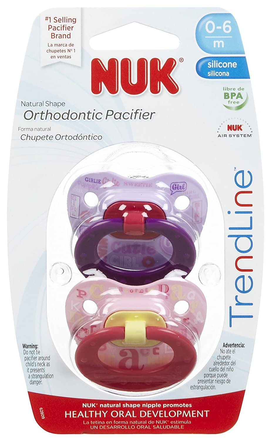 NUK Juicy Orthodontic Pacifier 0-6 Months 2 Ea Styles and colors May Vary (Pack of 2)