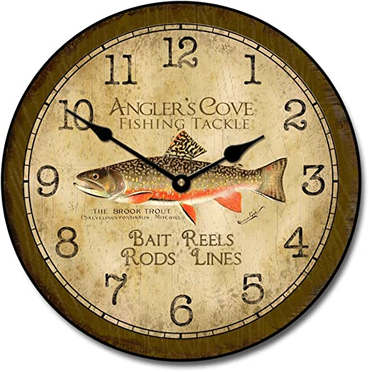 Fishing Wall Clock, Available in 8 Sizes, Most Sizes Ship 2-3 Days, Whisper Quiet.